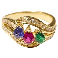 Multi-Gem Diamond Ring 18K - Three Stones Surrounding Diamonds Stylish Luxe