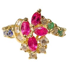 Flower Ring - Multi-Gem Diamond Ring 18K - Brighten Up the Year