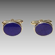 Fine Men's Cuff Links Natural Lapis Lazuli -14K Y-Gold - Vintage 60's