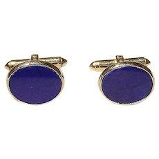 Fine Men's Cuff Links Natural Lapis Lazuli -14K Y-Gold - Vintage 60's