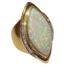 Passionate Fiery Black Opal Diamond Ring 18K - Opulent Natural Opal