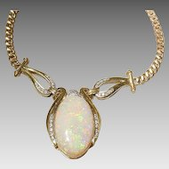 Regal Fired Opal-Diamond-Gold Necklace 18 KT Yellow Gold - Great 17.7 Ct. - Opulent Natural Opal
