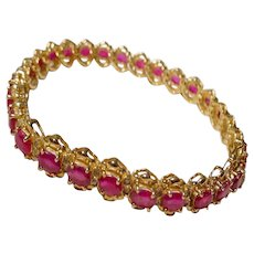 Supper Red Ruby Diamonds 14K - Tennis Bracelet - A Statement