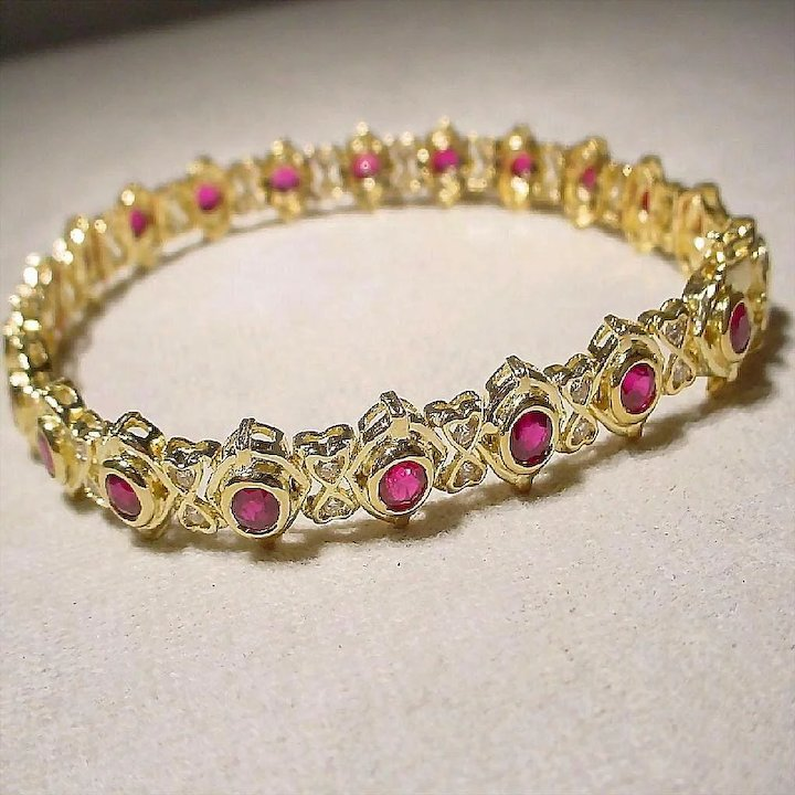 ruby gold mens yellow ctw red bracelet solid diamond