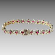 Finest Red Ruby Diamond Bracelet 18 KT Y-Gold - Collectible Rubies - Vintage 60's