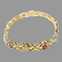 Elegant Ruby Diamond Bracelet 18K Crisp-Cross