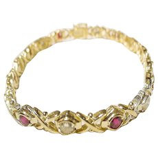 Elegant Fine Red Ruby Diamond Bracelet 18 KT Y-Gold - Crisp-Cross - Vintage 70's