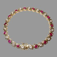Glamour Bracelet 18K Diamonds Collectible Rubies