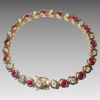 Glamour Red Ruby Diamond Bracelet 18 KT Y-Gold - Collectible Rubies - Vintage 70's