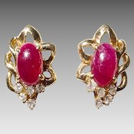 Beautiful Red Ruby and Diamond Earrings 14KT Yellow Gold -- Cabochon Studs - Floral Setting