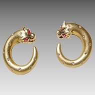 Ruby and Diamond Earrings 18 KT Yellow Gold - 2-Toned - Leopard Loops - Very Lovely