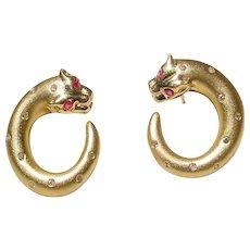 Ruby Diamond Earrings 18K - 2-Toned - Leopard Loops - Very Lovely