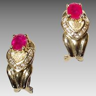 Stately Double Hearted Setting Red Ruby Diamond Earrings 14 KT Yellow Gold - Etruscan - Valentine's