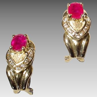 Stately Double Hearted Setting Red Ruby Diamond Earrings 14K Y-Gold - Etruscan - Valentine's
