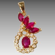 Red Ruby & Diamond Pendant 18 KT Yellow Gold - Gorgeous Red & White - Great Celebrations