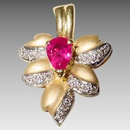 Red Ruby Pendant /Enhancer 18 KT Gold - Golden Leaf of Yellow Matte Gold & White with Diamonds - Autumn Leaf