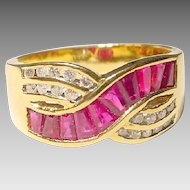 Amazing Red Ruby & Diamond Ring 18 KT Yellow Gold - Flying Ribbons of Rubies & Diamonds - Amazing Band