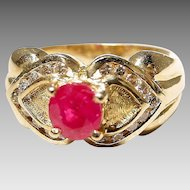 Stately Double Hearted Setting Red Ruby Diamond Ring 14 KT Yellow Gold - Etruscan - Valentine's