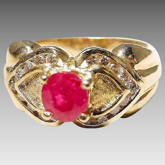 Stately Double Hearted Setting Red Ruby Diamond Ring 14K Y-Gold - Etruscan - Valentine's