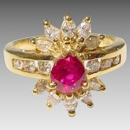 Bright Red Ruby Diamond Ring 18 KT Yellow Gold - Lavish Gems in Victorian Style - Vintage 70's