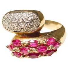 Bypass Band Red Ruby Diamond Ring 14K - Unique