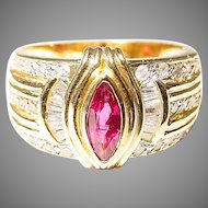 Etching Ruby Diamond Ring 14 KT Y-Gold - Vintage Band - 60's
