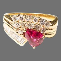 Finest Red Ruby Diamond Ring 18 KT Y-Gold - Collectible Ruby - Vintage 60's
