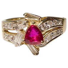 Most Elegant Ruby Diamond Ring 14 KT Y-Gold - Most Vivid Red Ruby - Vintage 70's