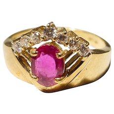 Georgian Style Ruby Diamond Ring 18K Old Vivid Red Ruby - 60's