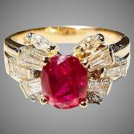 Smoldering Red Ruby & Diamond Ring 18K Y-Gold - Filigree Diamonds - Vintage 60's