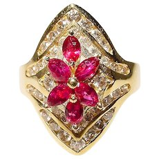 Red Poinsettias Ruby Diamond Ring 18K Y-Gold - Diamond Comfy Band - Vintage 70's