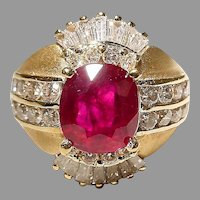 Passionate Deep Red Ruby Diamond Ring 18K Etruscan Two-Toned