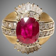 Passionate Deep Red Ruby Diamond Ring 18K Y-Gold - Etruscan Two-Toned Bombe Shape