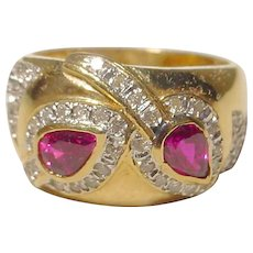 Wonderful Red Ruby Diamond Ring 18K - Dome Band - Engraved
