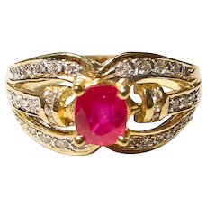 Flaming Red Ruby Diamond Ring 18K - Combined Balance
