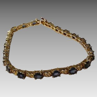 Blue Sapphire & Diamond Bracelet 14KT Yellow Gold Tennis Style - Timeless Vintage