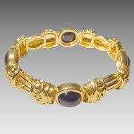Heavenly Victorian Traditional Blue Sapphire Gold Bangle Bracelet 14KT Yellow - Heavy Gold & Huge Stones Etruscan - 1960's