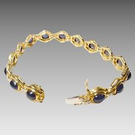 Blue Sapphire Bracelet w/ Diamonds 18K Y-Gold - Vintage Cabochons - Collectible - Elegant Etruscan