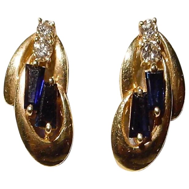 sapphire and diamond earring converted to a charm from the 1950\u2019s. Vintage 14k white gold