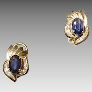 Timeless Blue Sapphire Diamond Earrings 14 KT Yellow Gold - Omega Backings - Floral Design - Classic