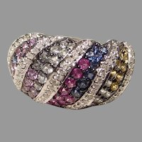 Pink Sapphire Ring - 18K W-Gold - Multi-Colored Sapphires & Diamonds