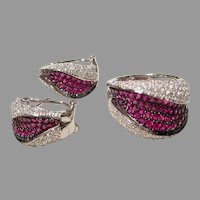 Stylish Ruby Diamond Ring Earrings Set 18K