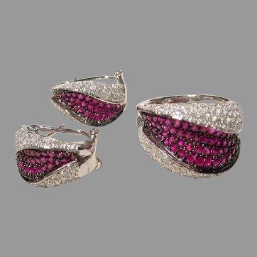 Stylish Set of Ruby Diamond Ring & Earrings 18K WG Art Nouveau Black Rhodium 1990's