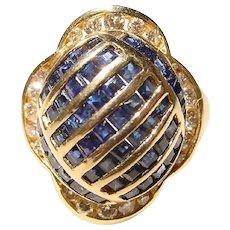 Dramatic Blue Sapphire Diamond Ring 14K Dome of Flower Bud