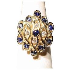 Stunning Blue Sapphire & Diamond Ring 14K - Cocktail Ring