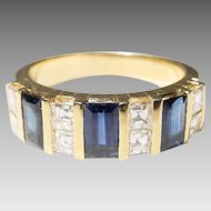 Beauteous Sapphire Diamond Ring 18 KT Y-Gold - Art Deco Unique Band