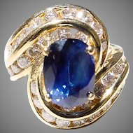 Wealth Blue Sapphire Diamond Ring 18 KT Y-Gold - Greatest Engagement Ring Large Sapphire 2.9 CT