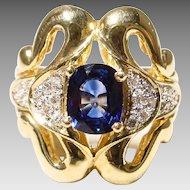 Luxurious Blue Sapphire Diamond Ring 18 KT Y- Gold - Art Deco Style & Motifs - Bold