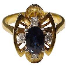 Blue Sapphire Ring Diamonds 14K - Beautiful and Artful