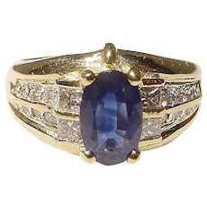 Classic Blue Sapphire & Diamond Ring 18 KT Y-Gold - Vintage